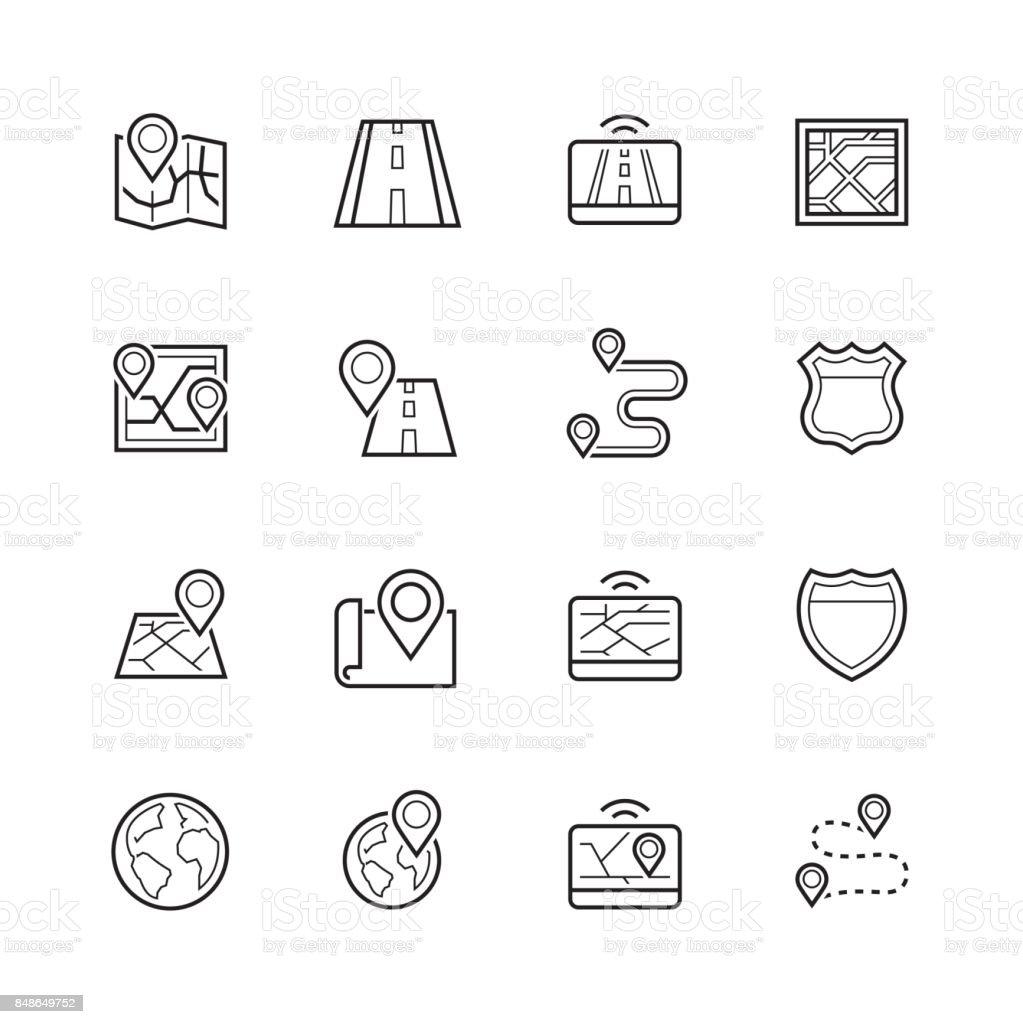 Navegación, dirección, mapa, conjunto de iconos de tráfico delgada línea - ilustración de arte vectorial