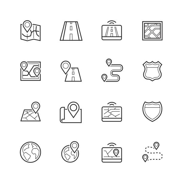 Navigation, direction, maps, traffic thin line icon set vector art illustration