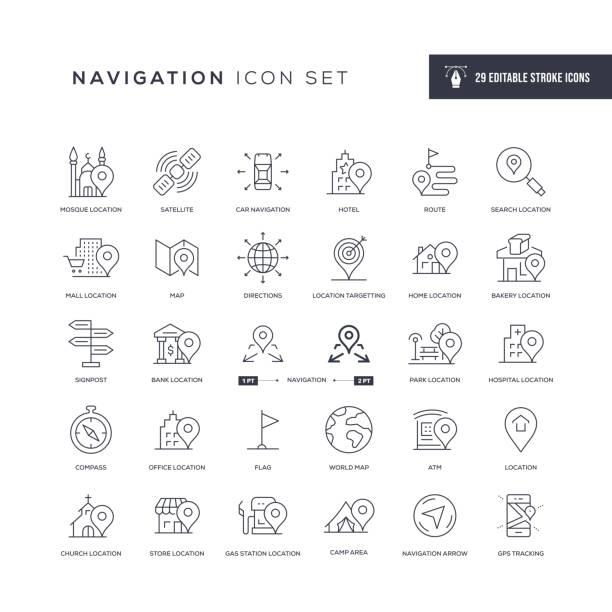 ilustrações de stock, clip art, desenhos animados e ícones de navigation editable stroke line icons - ponto turístico