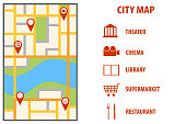 Navigation european city map with pins. Vector city map with color pin pointers. City map with red markers. Vector illustration.