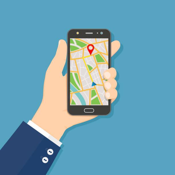 GPS-Navigation-flachen Design-Konzept. Hand halten Handys mit GPS-Navigationskarte auf dem Bildschirm. – Vektorgrafik