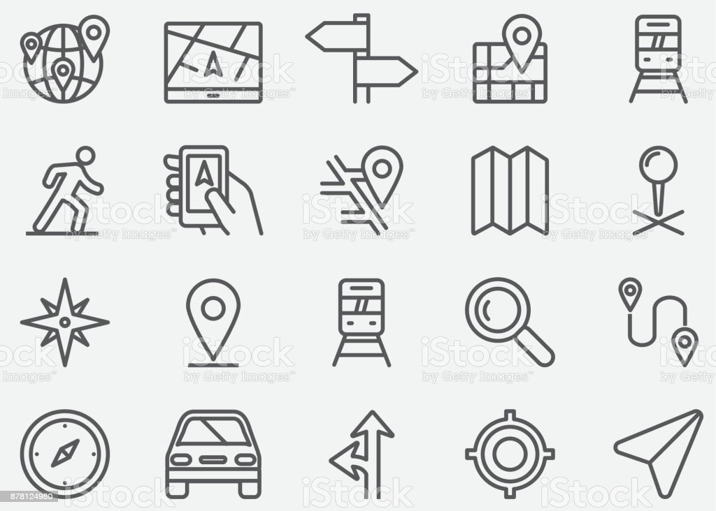 Navigation GPS Line Icons vector art illustration