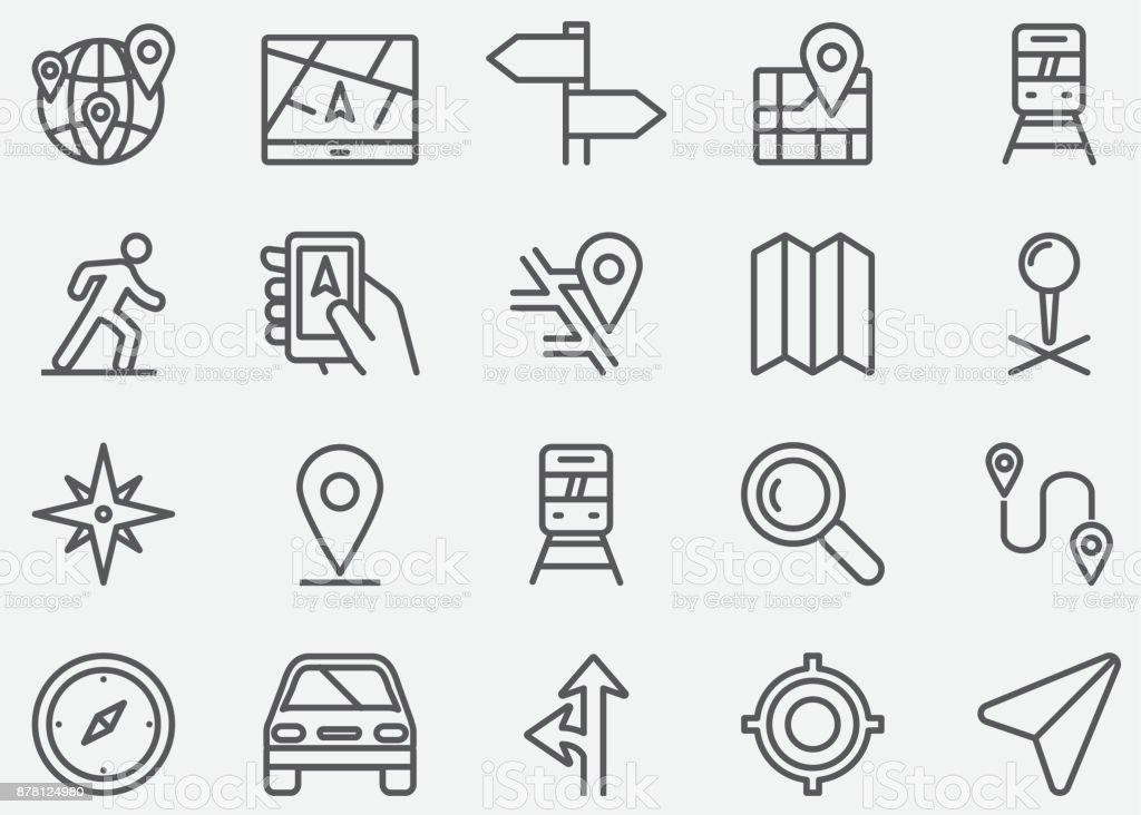 Ícones de linha GPS de navegação - ilustração de arte em vetor