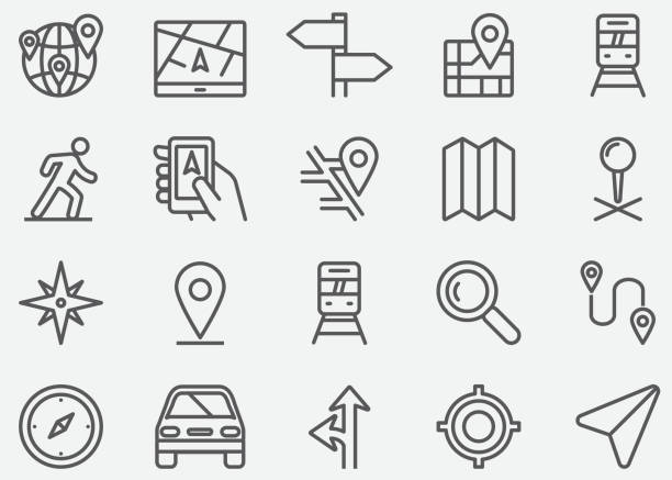 Navigation GPS Line Icons Navigation GPS Line Icons navigational equipment stock illustrations