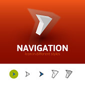 Navigation color icon, vector symbol in flat, outline and isometric style isolated on blur background