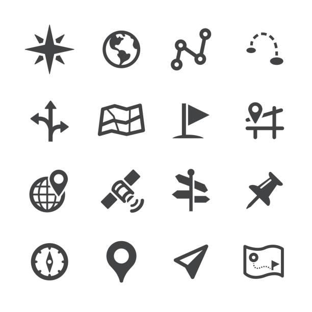 navigationssymbole - acme-serie - kartographie stock-grafiken, -clipart, -cartoons und -symbole