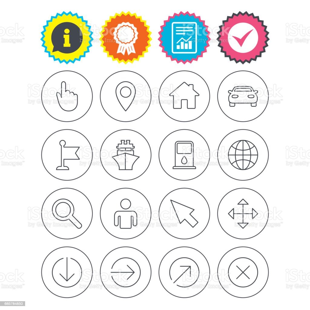 GPS navigation icons. Car and Ship transport. royalty-free gps navigation icons car and ship transport stock vector art & more images of arrow symbol