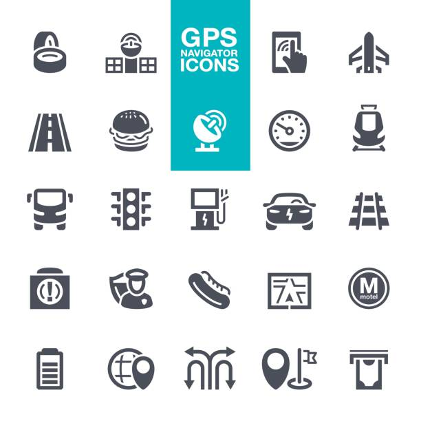 GPS Navigation Icons set Bus, Traffic, Gear, Traffic Jam, smartphone navigation uniform cap stock illustrations