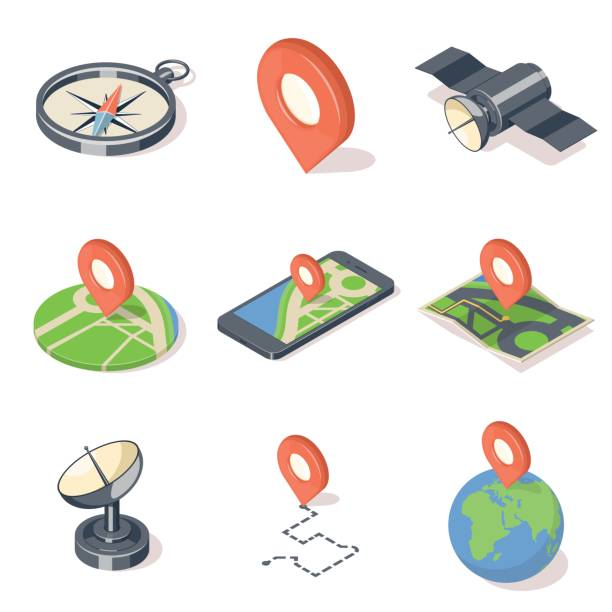 gps navigation icons set - astronomy telescope stock illustrations