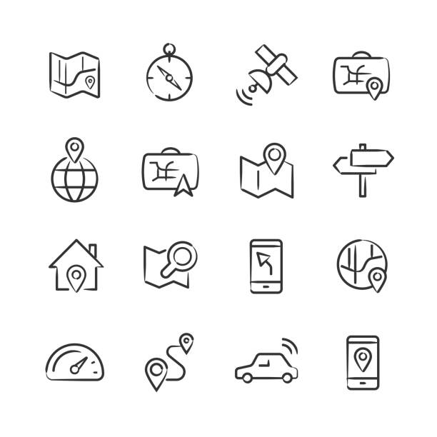 Navigation Icons — Sketchy Series vector art illustration