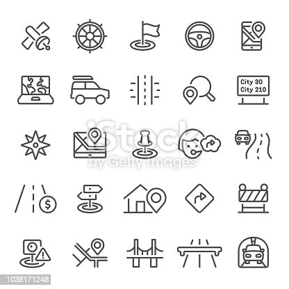 Navigation, GPS, traffic, icon, icon set, compass, map, co-pilot