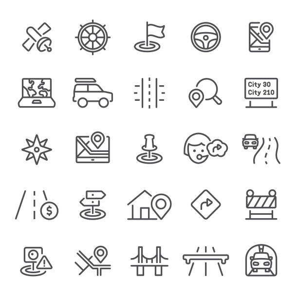 Navigation Icons Navigation, GPS, traffic, icon, icon set, compass, map, co-pilot highway stock illustrations