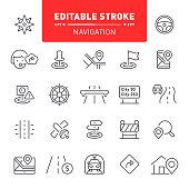 Navigation, GPS, traffic, editable stroke, outline, icon, icon set, compass, map, co-pilot
