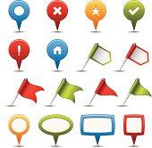 Set of GPS and navigation icons.