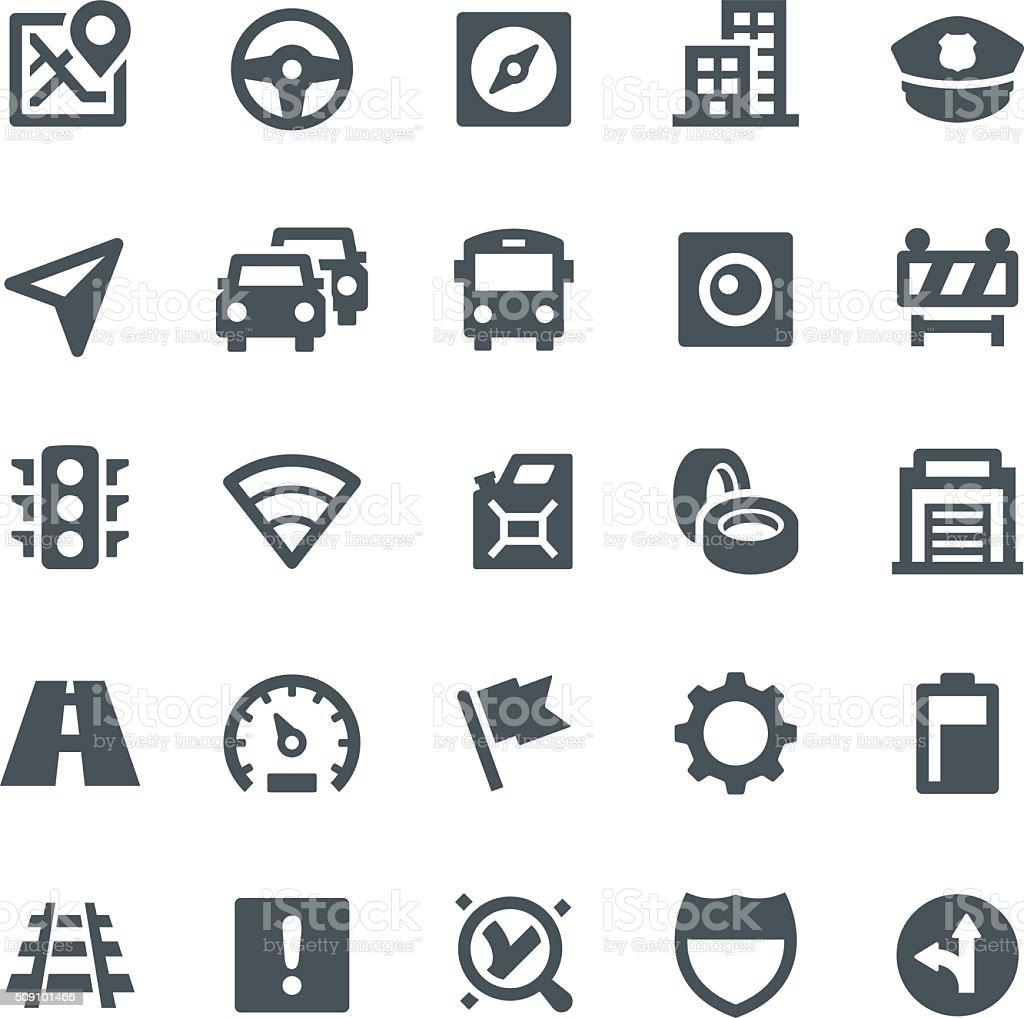 Iconos de navegación y GPS - ilustración de arte vectorial