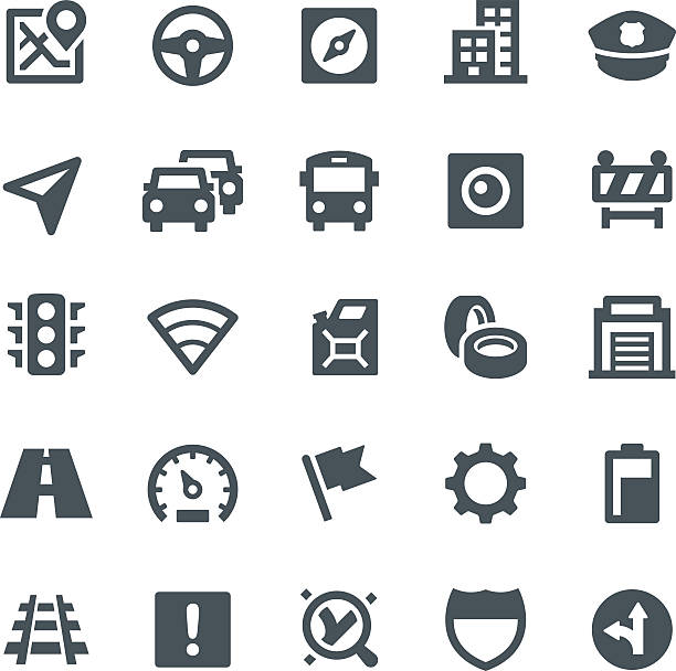 GPS Navigation Icons Traffic, navigation, GPS, icons, icon set, interstate, navigation system, road, compass uniform cap stock illustrations