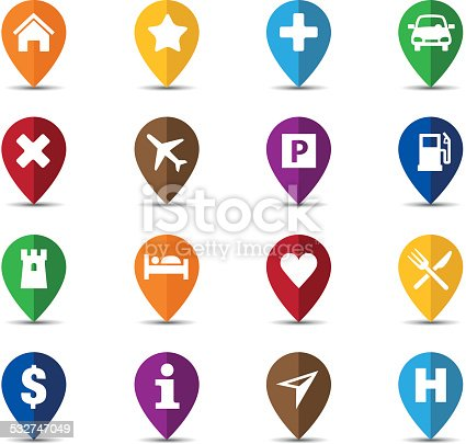 Collection of navigation icons - pins for maps or mobile apps. This file is saved in EPS10 format.