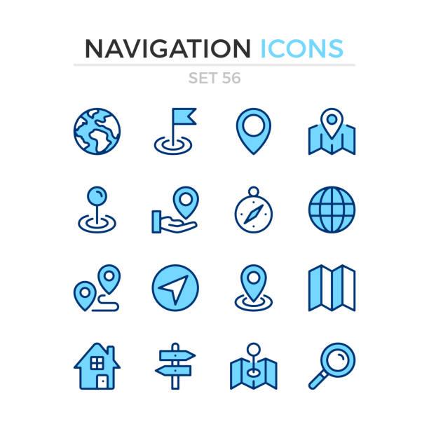 navigationssymbole. vektorzeilensymbole gesetzt. premium-qualität. einfaches design mit dünnen linien. moderne umrisssymbole sammlung, blaue lineare strickpiktogramme. - heftzwecke stock-grafiken, -clipart, -cartoons und -symbole