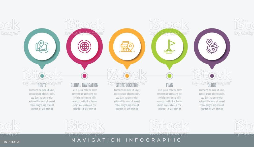 Infografía de navegación - ilustración de arte vectorial