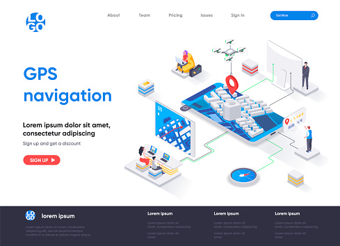 GPS navigation isometric landing page. Geolocation and navigation system, world orientation, route and direction isometry web page