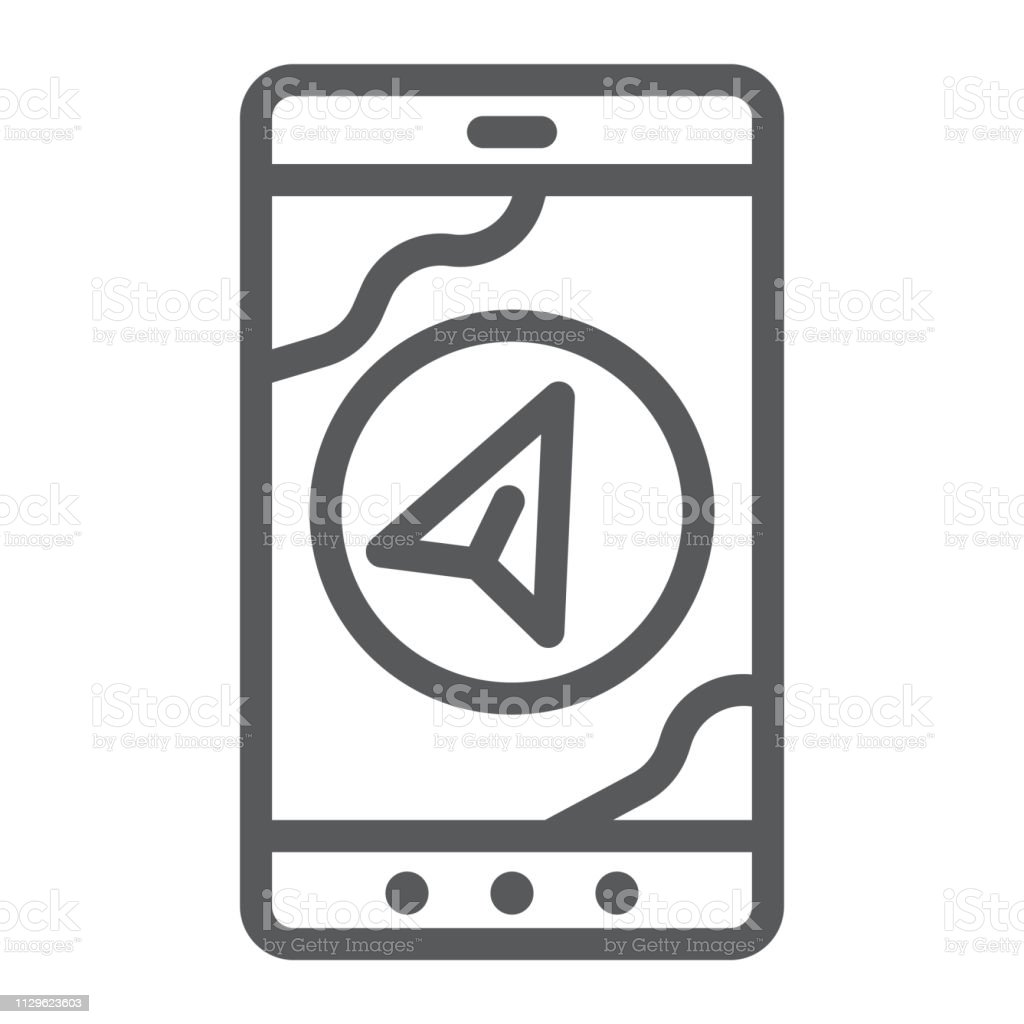 Navigation Line Icon Gps And Location Arrow On Phone Screen Sign