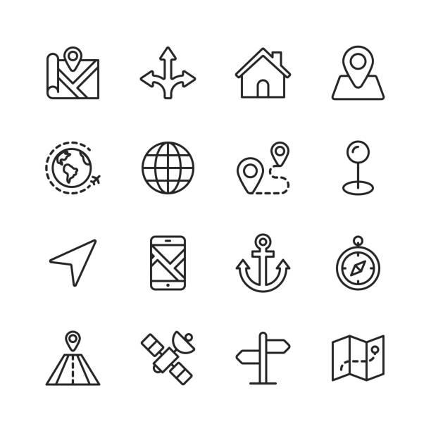 """導航線圖示。可編輯的筆劃。圖元完美。適用于移動和 web。包含 """"方向""""、""""地圖""""、""""gps""""、""""道路""""、""""衛星"""" 等圖示。 - 方向標誌 幅插畫檔、美工圖案、卡通及圖標"""