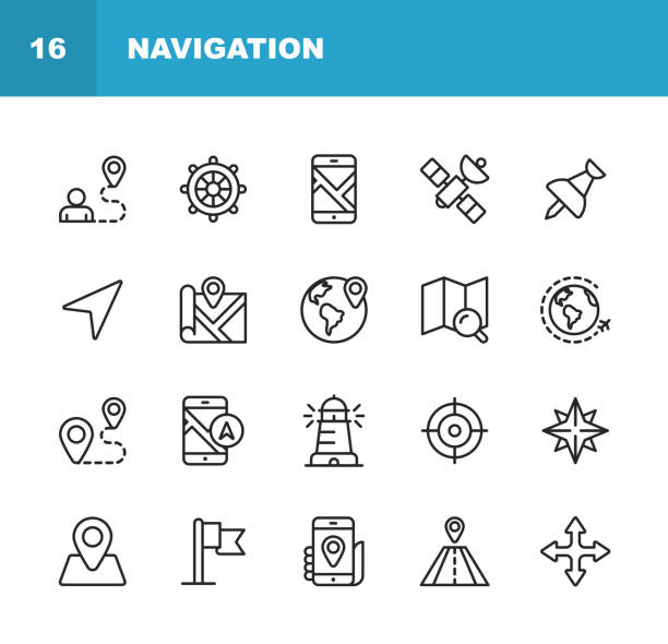 Navigation Line Icons. Editable Stroke. Pixel Perfect. For Mobile and Web. Contains such icons as . 20 Navigation Outline Icons. navigational equipment stock illustrations