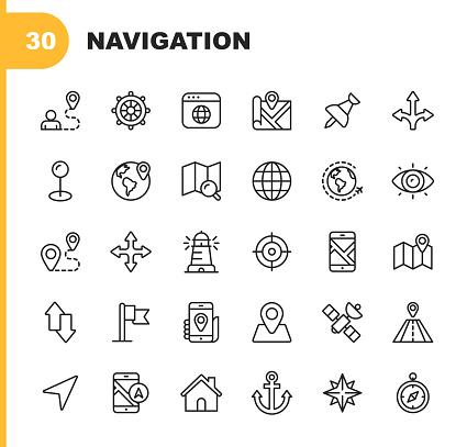 30 Navigation Outline Icons.