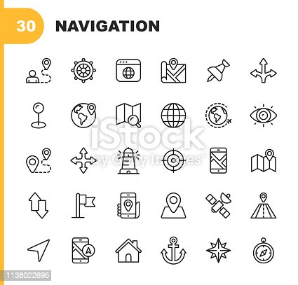 30 Navigation Outline Icons.