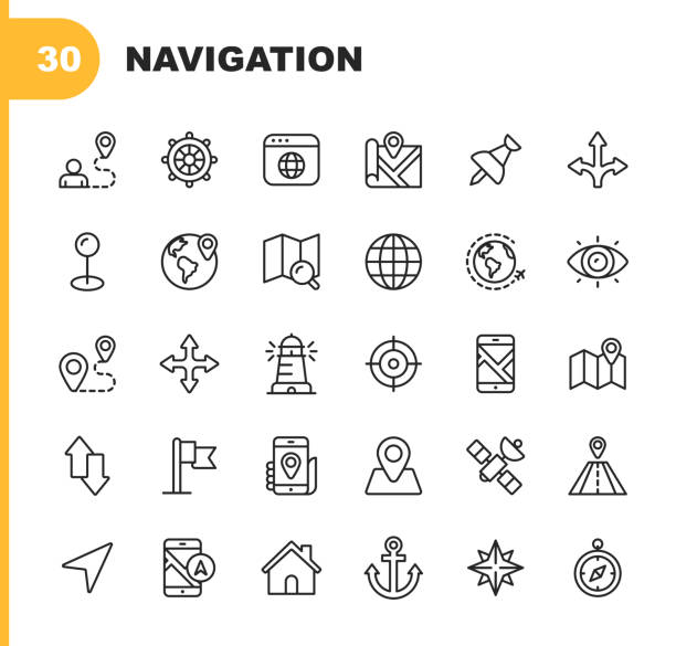 Navigation Line Icons. Editable Stroke. Pixel Perfect. For Mobile and Web. Contains such icons as Placeholder, Compass Rose, Map, Direction, Navigation Target. 30 Navigation Outline Icons. navigational equipment stock illustrations