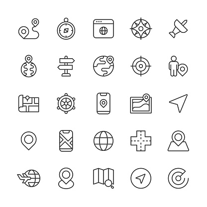 Navigation Line Icons. Editable Stroke. Pixel Perfect. For Mobile and Web. Contains such icons as Car, City, Destination, Direction, Distance, Driving,  Globe, GPS, Map, Path, Payment, Road, Route, Satellite, Tourism, Traffic, Transport, Travel, Vehicle.