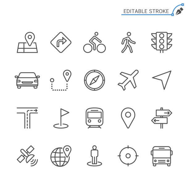 navigation line icons. editable stroke. pixel perfect. - stoplights stock illustrations, clip art, cartoons, & icons