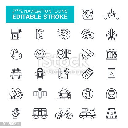 Map, Navigational Compass, Road Map, Icon Set Editable Stroke