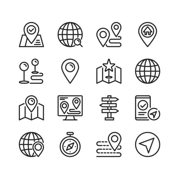 Navigation line icons. Modern stroke, linear elements. Outline symbols collection. Premium quality. Pixel perfect. Vector thin line icons set vector art illustration