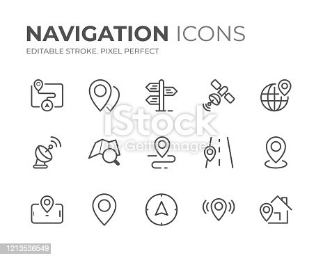 Simple Set of Navigation Line Icons. Editable Stroke. Pixel Perfect.