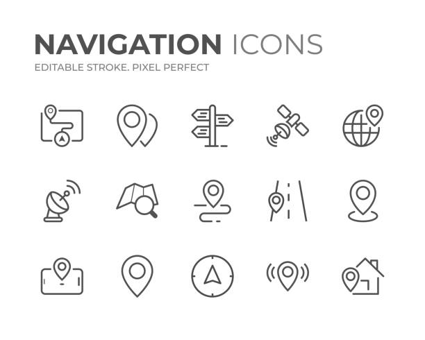 stockillustraties, clipart, cartoons en iconen met navigatielijnpictogrammen set - orthografisch symbool
