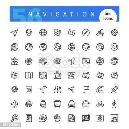 Set of 56 navigation line icons suitable for web, infographics and apps. Isolated on white background. Clipping paths included.