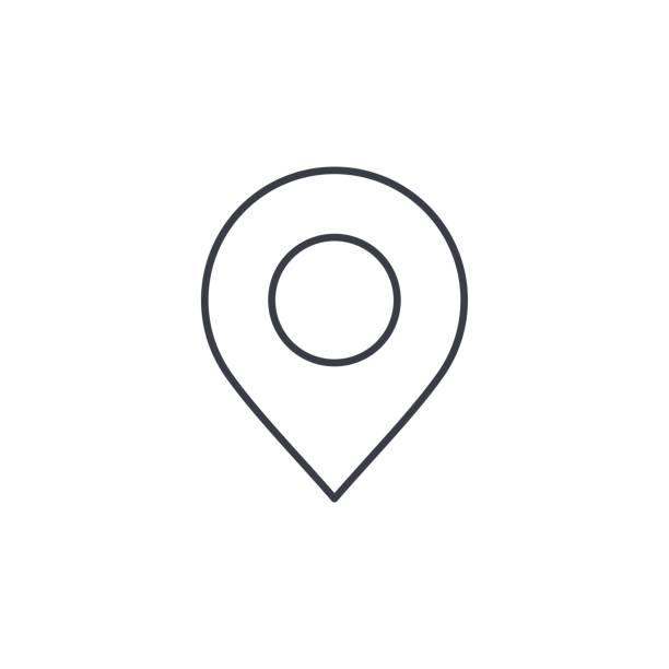 ilustrações de stock, clip art, desenhos animados e ícones de navigation, location marker, cursor thin line icon. linear vector symbol - posição