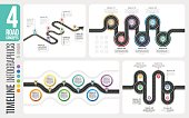 Navigation map 6 steps timeline infographic concepts. 4 winding