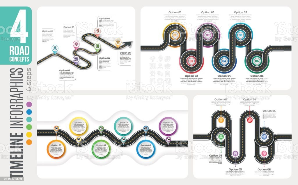 Navigation map 6 steps timeline infographic concepts. 4 winding vector art illustration