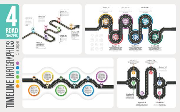 navigation map 6 steps timeline infographic concepts. 4 winding - conceptual infographics stock illustrations, clip art, cartoons, & icons