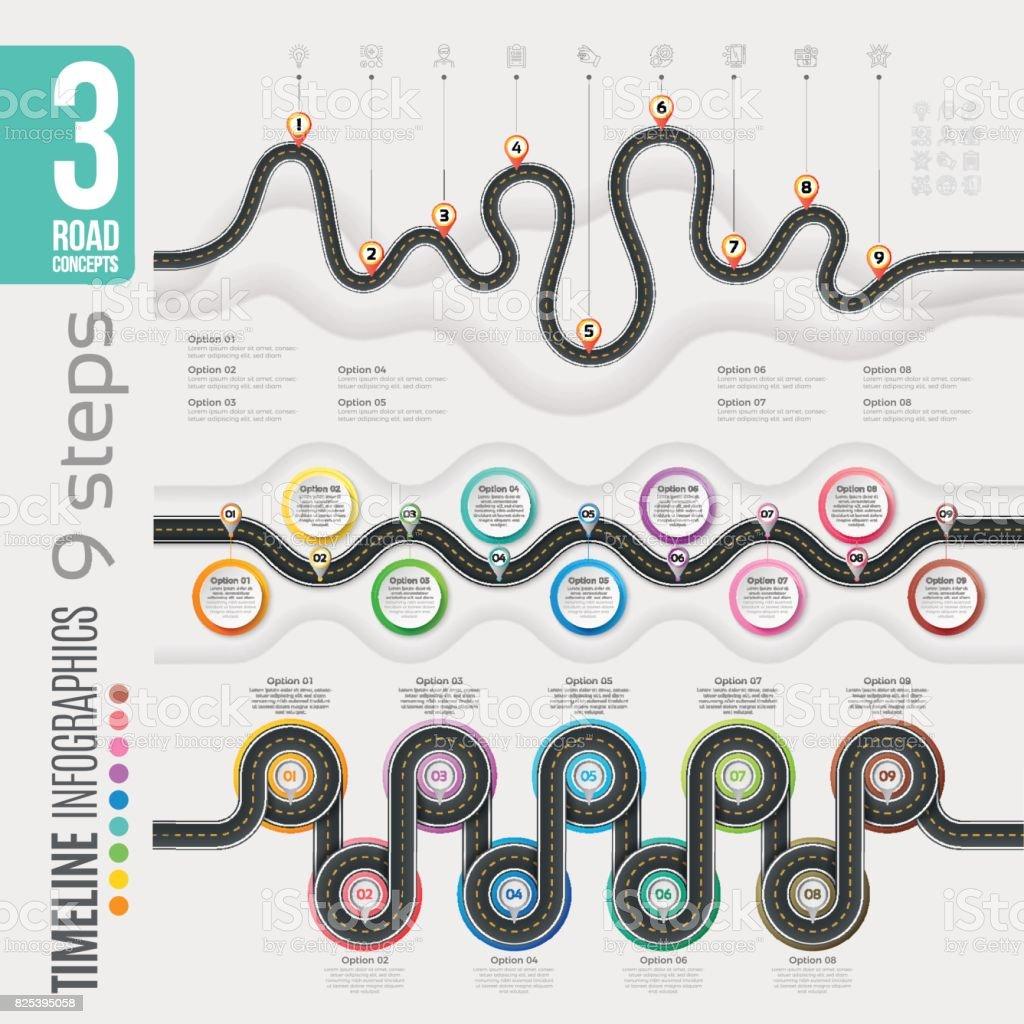 Navigation map 9 steps timeline infographic concepts. 3 winding roads vector art illustration