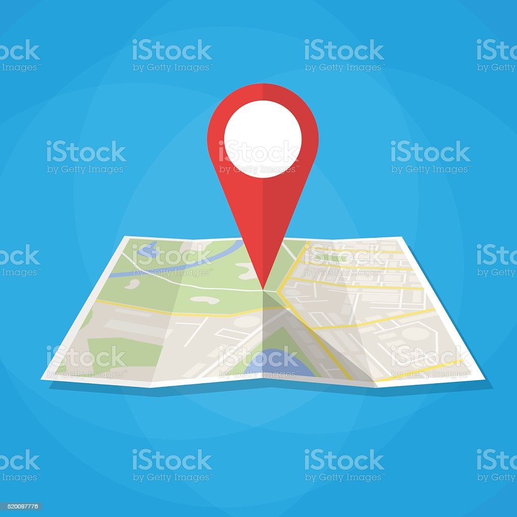 Navigation map icon vector art illustration