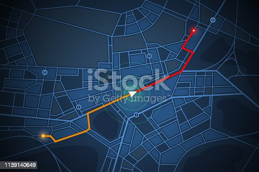 navigation map screen in vector