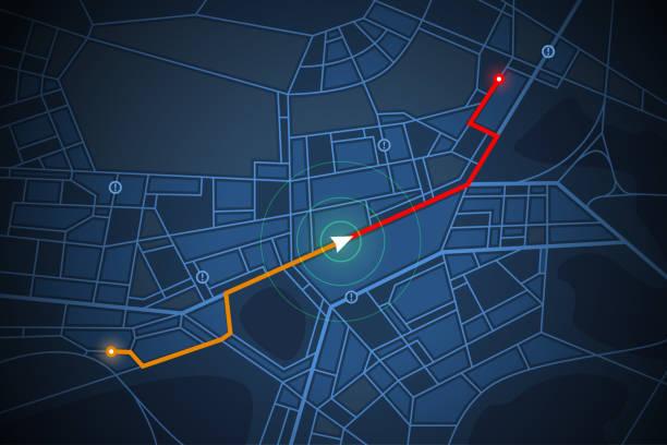 navigationskarte bildschirm - karte navigationsinstrument stock-grafiken, -clipart, -cartoons und -symbole