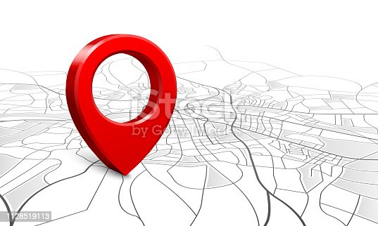 Navigation map. Street 3d location pin locator, pins pointer navigator maps and locations marker. Navigate gps plan, geography location mapping vector illustration