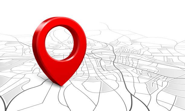 ilustrações de stock, clip art, desenhos animados e ícones de navigation map. street 3d location pin locator, pins pointer navigator maps and locations marker vector illustration - posição