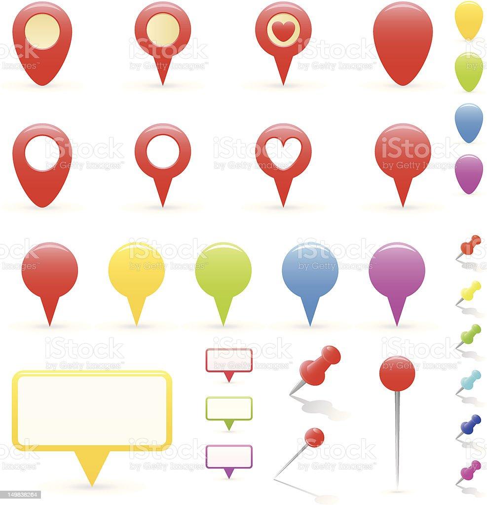 Navigation Markers Set royalty-free stock vector art