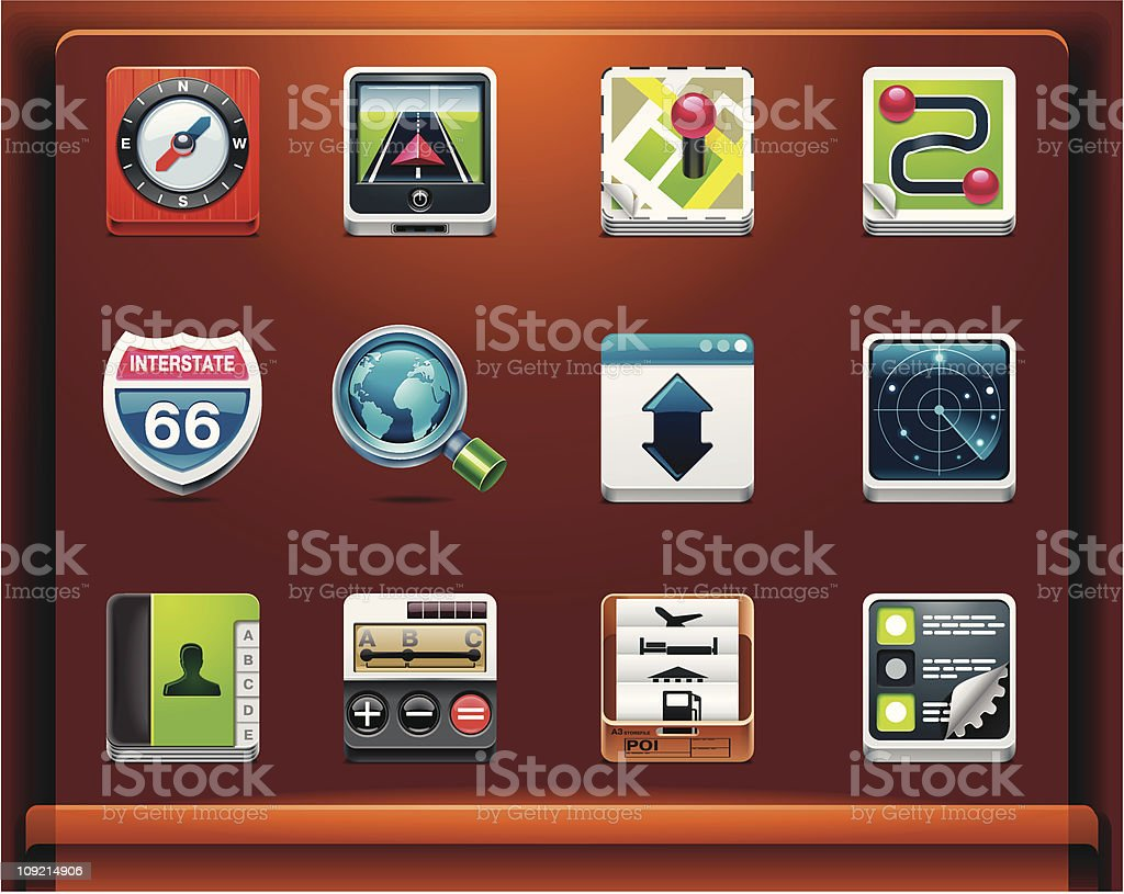 GPS navigation. Mobile devices apps icons royalty-free stock vector art