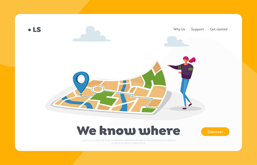 Navigation, Orienteering Traveling Landing Page Template. Character at Huge Map with Gps Pin Finding Way in Big City